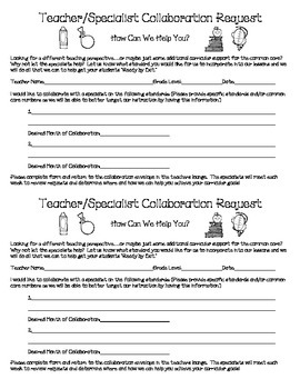 Teacher Request for Specialist Collaboration