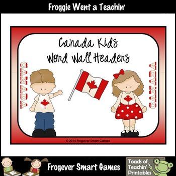 Teacher Resource--Canada Kids Word Wall Headers