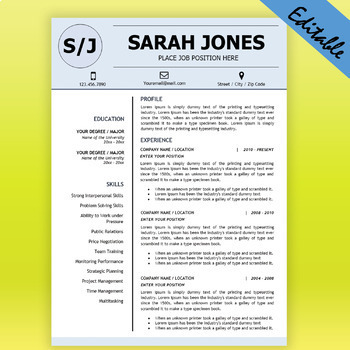 TEACHER RESUME Template for MS Word, Educator Resume DOCX,