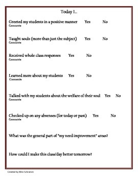 FREEBIE Teacher Self Evaluation For End of Day