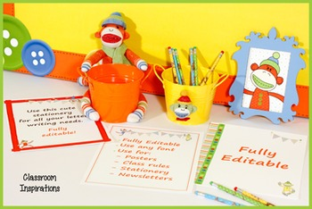 Teacher Stationery - Coordinates with Sock Monkey Classroom Theme