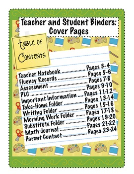 Teacher & Student Binders: Cover pages