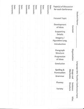 Teacher-Student Conference Sheet