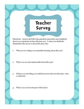 End of Year Teacher Survey