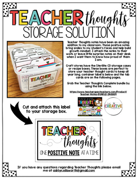 Teacher Thoughts Storage FREEBIE