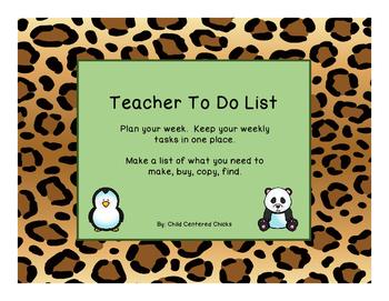 Teacher To Do List Zoo Theme Leopard Print