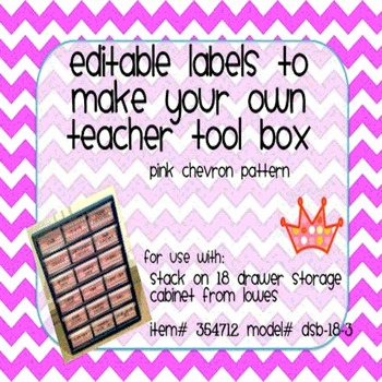 Teacher Tool Box Labels- EDITABLE!- pink chevron