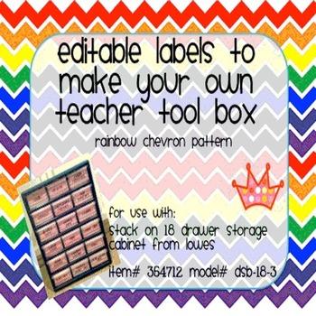 Teacher Tool Box Labels- EDITABLE!- rainbow chevron