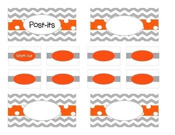 Teacher Tool Box Labels-Grey Chevron with orange dots