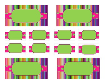 Teacher Tool Box Labels (editable)- Bright Stripes and Dots