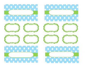 Teacher Tool Box Labels (editable)-Green and light blue