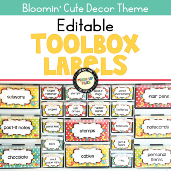 Bloomin' Cute Teacher Toolbox Labels