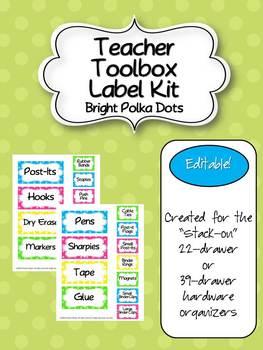 Teacher Toolbox - Bright Polka Dots (EDITABLE)