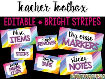 Teacher Toolbox- EDITABLE- Bright Stripes
