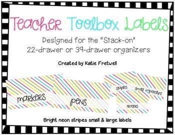 Teacher Toolbox Labels - Bright Stripes