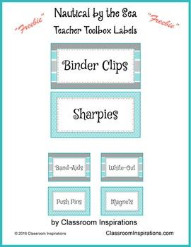 Teacher Toolbox Labels - FREEBIE - Nautical by the Sea Cla