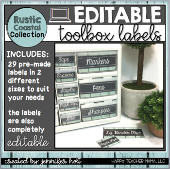 Teacher Toolbox Labels {Rustic Coastal}