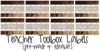 Teacher Toolbox Labels- Rustic/Wood- Pre-Made & Editable!