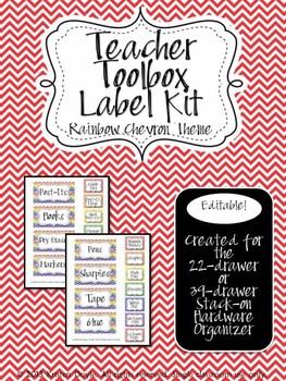 Teacher Toolbox - Rainbow Chevron theme (EDITABLE) - prima