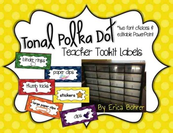 Teacher Toolbox Supply Labels: Tonal Polka Dots