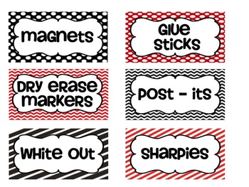 Teacher Toolbox labels - Red & Black
