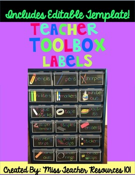 Teacher Toolbox Labels - Black and Brights {editable template}
