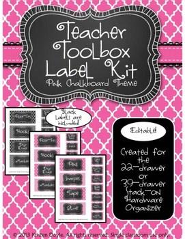 Teacher Toolkit - Pink Chalkboard (Editable)