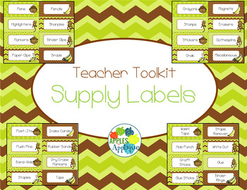 Teacher Toolkit Supply Labels in Monkey Theme