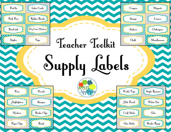 Teacher Toolkit Supply Labels in Yellow Teal and Gray