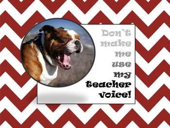 Teacher Voice Wall sign with Bulldog and Maroon Chevron