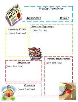 Teacher Weekly Newsletter/Template