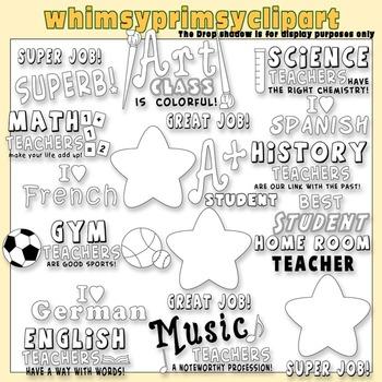 Teacher Word Art - Lineart