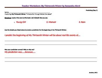 My Thirteenth Winter Teacher Worksheets