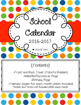 Teacher Yearly Calendar 2016-2017