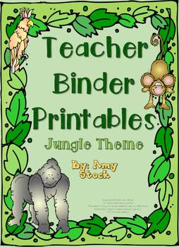 Teacher binder printables:  Jungle theme