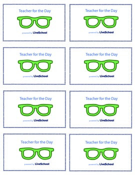 Teacher for the Day Reward Cards
