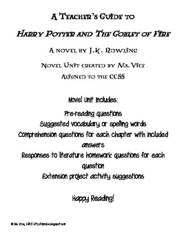 Teacher guide for JK Rowling's Harry Potter and the Goblet
