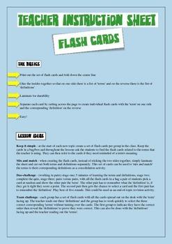Teacher instruction sheet - Flash cards