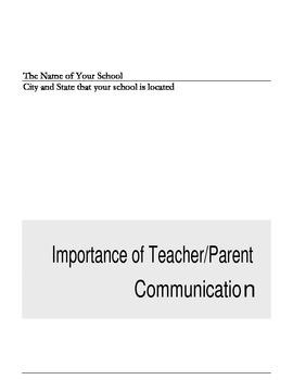 Teacher/Parent Communication Booklet