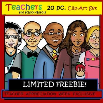 """Teachers"" 20 pc. Clip-Art Set (5 Teachers, 5 Objects) BW"