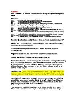 Teacher's College Kindergarten Unit 7 Reading Mini-lessons