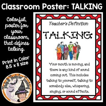 Teachers Definition of Talking Classroom Sign Poster