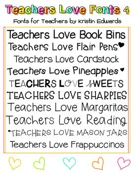 Teachers Love Fonts 4 - Fonts for Teachers