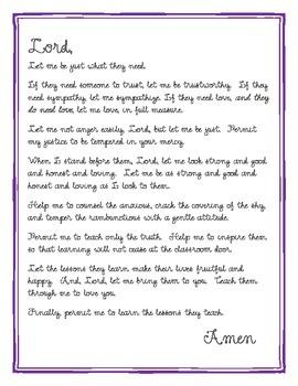 Teacher's Prayer for Back to School