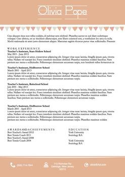 Teachers Resume Template Docx   Peach Banners