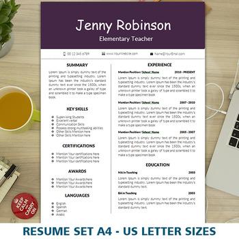 Teacher's Resume Template for MS Word, Elementary CV Desig