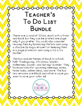 Teachers To Do List Bundle