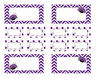 Teachers Tool Box- Purple Chevron with labybugs