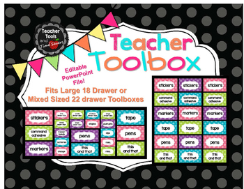 Teacher's Toolbox! Polka Dot - 18 or 22 Drawer Labels