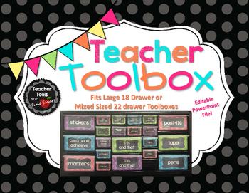 Teacher's Toolbox! Polka Dot and Chalkboard - 18 or 22 Dra